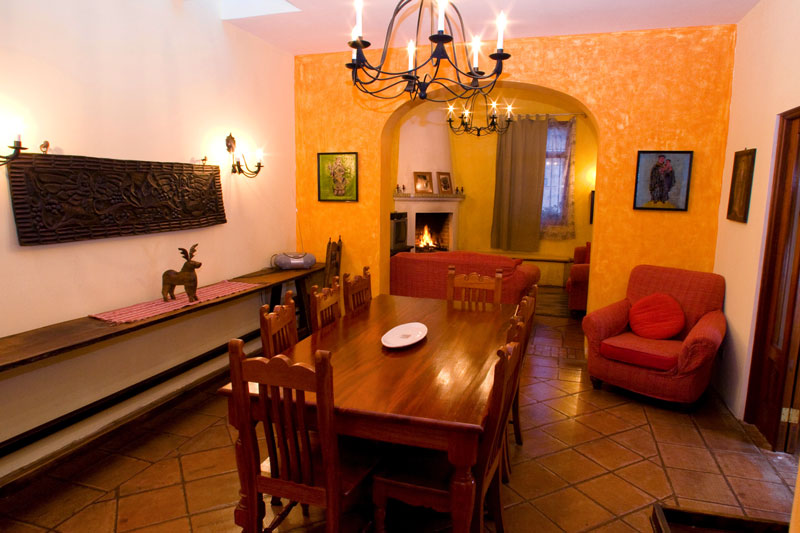 Dining Room at night CasaBella Antigua Guatemala